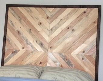 wooden chevron headboard
