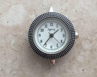Round Bali-style silver watch face for beading, jewelry making