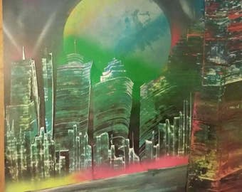 Spray Paint Art 22x28 Cityscape