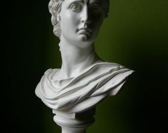 Large bust biscuit antique mythology Apollo Greek God goddess belvedere