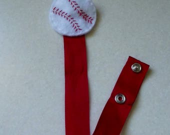 Red and White Baseball Pacifier Clip/Binky Clip/Paci Clip