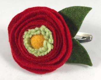 Red Ranunculus /  Red Flower / Floral / Spring or Summer Barrette