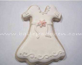 Baptism favor | Christening Gown | White Communion dress cookie favor | Custom decorated cookies