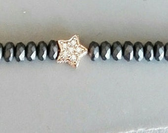 Silver and grey Hematite bracelet with starlet in cubic zirconia. Available in different colors and shapes
