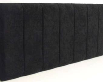 King Bed Size Genoa Headboard Black Faux Suede Fabric
