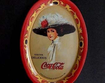 Reproduction Coca Cola Tray, Coke memorabilia, tin advertising tray, 1973 reproduction metal tray,  collectible vintage decorative dish