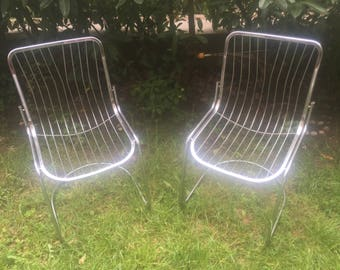 Bertoia style wire chairs (2), vintage (70 years), excellent condition