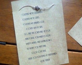 Wish Bracelet, Bridesmaid gift, Friendship bracelet,  wish anklet, Turtle Bracelet, Turlte anklet