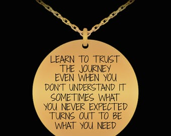 Learn To Trust The Journey Necklace Chain Pendant Inspiration Motivation Birthday Gift