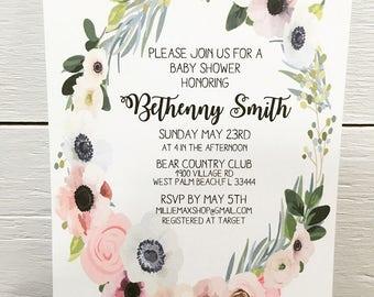 Flower Wreath Baby/Bridal Shower Invite