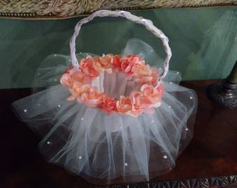 Coral and green Flower Girl Basket