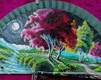 Hand painted Spanish Fan,  ART on your Hands