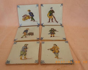 antique french tiles depicting trades