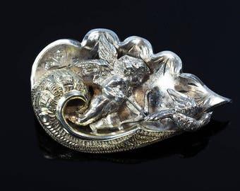 Antique Silver Angel Brooch