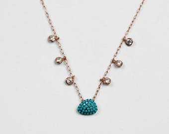 Turtle Shell Necklace with Zircon