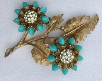 HAR vintage gold, turquoise and rhinestone flower pin