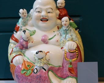 """Laughing Happy Buddha with Five Children 10"""" tall Vintage collectible Feng Shui Good Luck Ferility"""