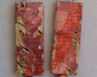 Orange Cranberry Paper Earrings