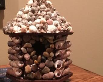 Rustic stone decorative bird houses