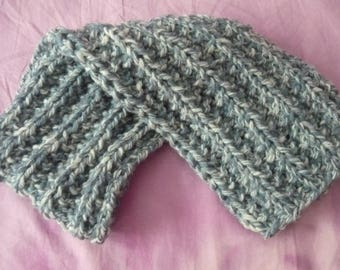 Children's knitted scarf – English – 50% wool 50 point mock rib: acrylic-16 x 93 cm blue-white melange –