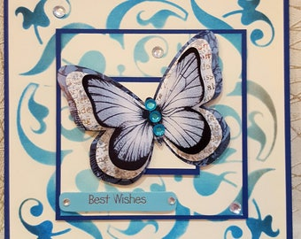 3d Handmade card with butterfly.
