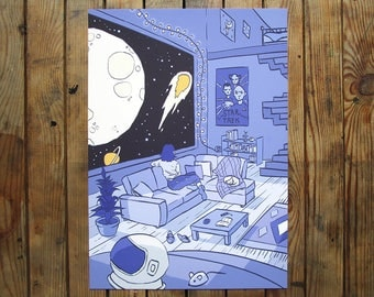 Space Room A5 OR A4 - digital art print - outer space - moon and stars - star trek