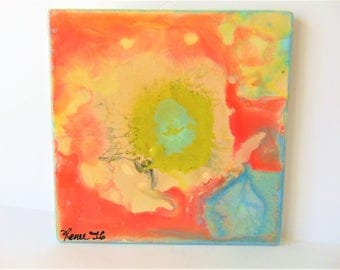 "The Rhythm - 6"" x 6"" Original Abstract Ceramic Painting"
