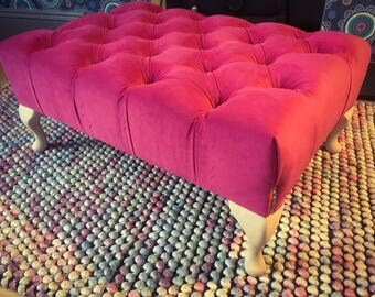 Large Deep Buttoned Footstool - with queen anne legs