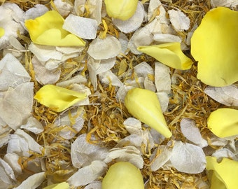 Sunny Daze | Ivory and Yellow | Real Petal Wedding Confetti | Biodegradable Petals | Wedding Throwing Confetti