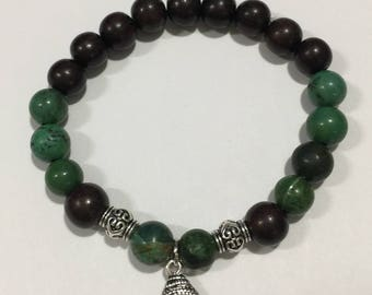 Green Howlite  Beaded Bracelet