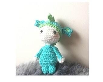 Lalylala Tiny dragon crochet, Gehaakte Tiny lalylala draak