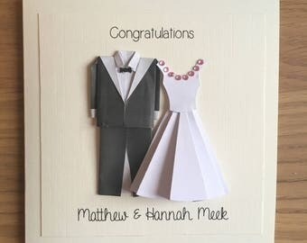 Personalised Origami Bride and Groom Wedding Card