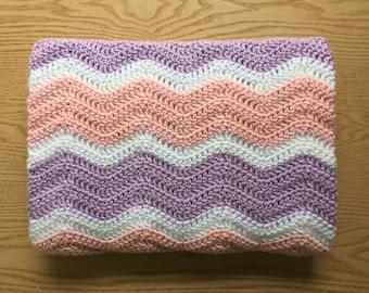 Pink and Purple Chevron Baby Blanket/ Crochet Baby Blanket/ Baby Girl Blanket/ Ripple Baby Blanket/Pink and Purple Crochet Baby Blanket