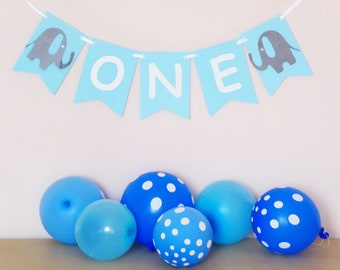 ONE year old banner with elephant decor baby boy first birthday, high chair banner
