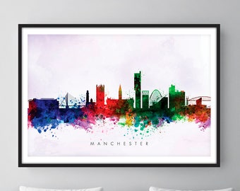 Manchester Skyline, Manchester England Cityscape England, Art Print, Wall Art, Watercolor, Watercolour Art Decor [SWMAN02]