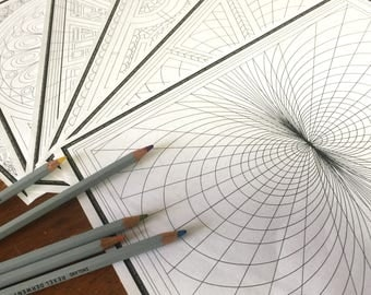 Coloring Book 2 6 Page Pdf Geometric Design Fun Printable Download