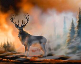 Demon deer 25x19 cm print