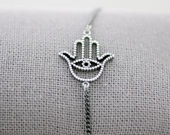 Hamsa hand Bracelet, 925 sterling silver hamsa bracelet, Hamsa Charm Bracelet, Hamsa Jewellery