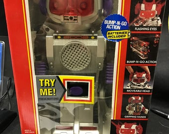"""Vintage Space Robot """"Bump and Go"""" with electronic sound"""