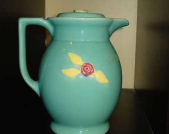 """PRICE REDUCED!  Coors Pottery, Rosebud 8"""" Coffee Pitcher, Light Green"""