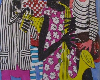 Art  drawing modern outsider art ' Jazz Dudes No 2 'by Alfred Halliday Art