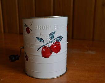 Vintage 1950's Bromwell Flour sifter painted in white with red apples