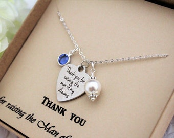 Mother of The Groom Gift Mother In Law Gift from Bride Thank you for Raising the Man of my Dreams Necklace Mother of Groom Gift from Bride