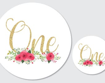 Party stickers 'one' - 60mm diameter party stickers, floral with faux glitter text