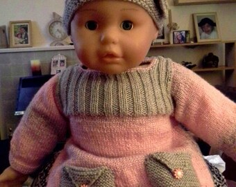Hand knitted baby dress set