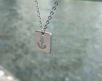 Stamped Anchor Necklace on Square Pendant