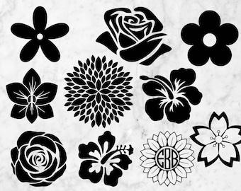 Flowers Svg Clip Art, Spring svg, flowers dxf, flower Vector, flowers bundle files for cricut, rose svg, hawaian flower, sunflower svg files