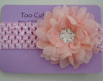 Peach and Pink Floral Headband With Pearl and Rhinestone Embellishment