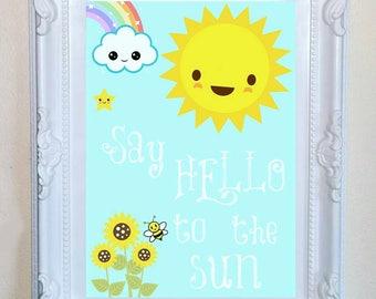 "Summer ""Say hello to the sun"" child/baby nursery print A5/A4"