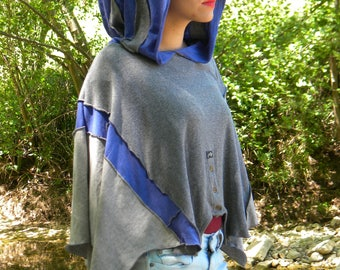 Summer blue and grey hooded Cape